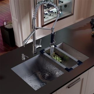 Vigo Undermount Stainless Steel Kitchen Sink, Faucet, Dispenser, and