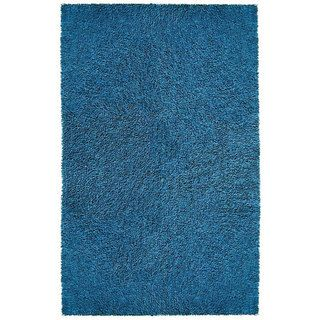 Hand woven Blue Chenille Shag Rug (4 x 6)