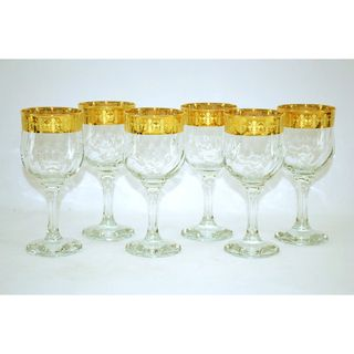 Threestar 14k Gold Rim Fleur De Lis Pattern Italian Wine Glasses (Set