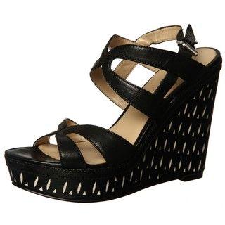 Nine West Womens Nacia Black Wedge Sandals