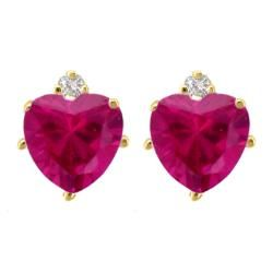 10k Gold Created Ruby and Diamond July Birthstone Heart Earrings