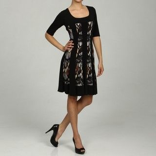 Connected Apparel Womens Charcoal Elbow Sleeve Dress