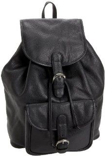 Leatherbay Leather Backpack With Single Pocket,Black,one size Shoes