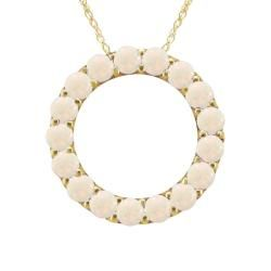 10k Gold October Birthstone Small Prong set Opal Circle Necklace