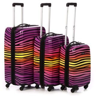 Nicole Miller Ombre Zebra 3 piece Hardside Spinner Luggage Set