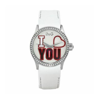 Dolce & Gabbana Womens I Love You White Leather Watch