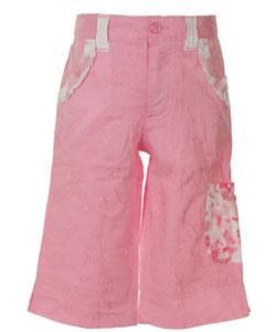 Flapdoodles Pink Embroidered Capri Pants