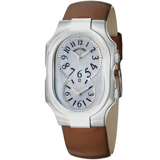 Philip Stein Womens Signature Dual Time Brown Satin Strap Watch