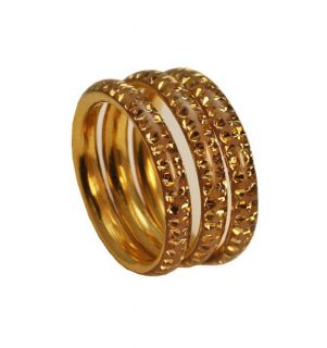 Goldplated Sterling Silver Colorado Topaz 3 piece Stackable Ring Set
