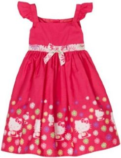 Hello Kitty Girls 2 6x Poplin Dress, Cerise, 2T Clothing
