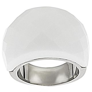 Stainless Steel White Faceted Glass Dome Ring