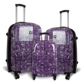World Pebble Purple Love Letter 3 piece Polycarbonate Luggage Set