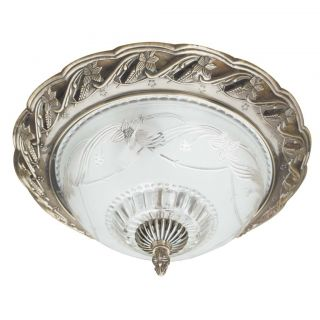Transitional 2 light Antique Brass Flush mount Fixture