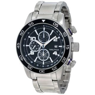 Nautica Mens Stainless Steel Black Dial Chronograph Watch