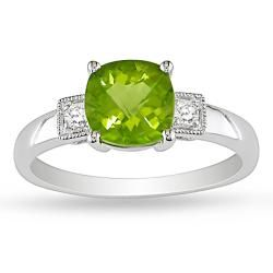 Miadora 10k White Gold Peridot and Diamond Ring