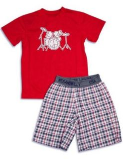 Wes and Willy   Boys Short Sleeve Shortie Pajamas, Red