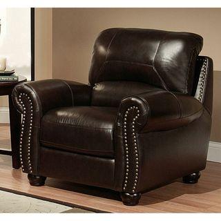Abbyson Living Monaco Premium Top grain Leather Armchair