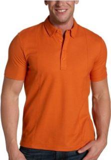 Perry Ellis Mens Pieced Pique Polo,Burnt Orange,XX Large