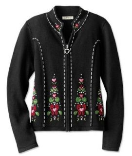 Embroidered Zip front Cardigan Clothing
