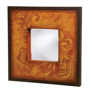 Wood and Canvas Chocolate Brown Shadow Box Mirror