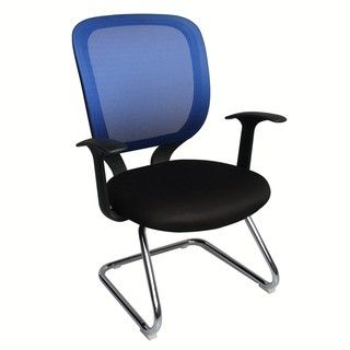 Foust Contemporary Blue Mesh Visitor Chair