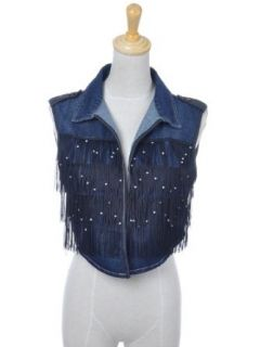 Anna Kaci S/M Fit Dark Wash Denim Cropped Vest with Black