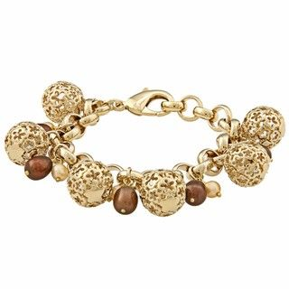 Rivka Friedman Chocolate and Gold Pearl Charm Bracelet (4 9 mm