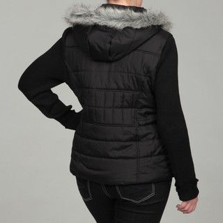 Dollhouse Womens Plus Size Black Faux Fur Hooded Jacket