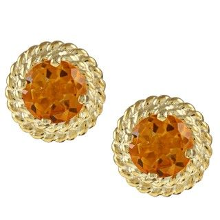 Kabella Gold over Silver Round Citrine Rope Design Stud Earrings