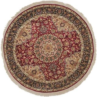 Asian Hand knotted Royal Kerman Red and Blue Wool Rug (6 Round