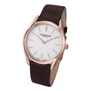 Stuhrling Original Mens Ascot Classic Ultra Soft Leather Strap Watch