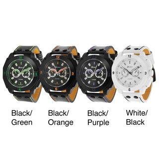 Geneva Platinum Mens Decorative Chronograph Strap Watch