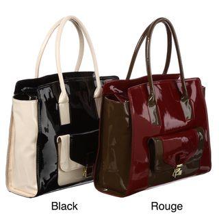 London Fog Essex Colorblock Faux leather Patent Shoulder/Tote Bag