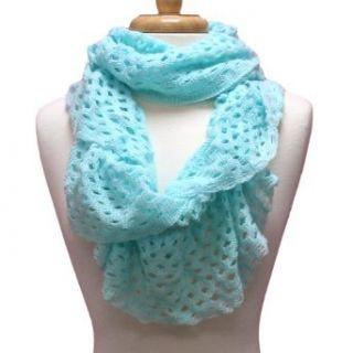 Aqua Blue Lightweight Frilly Crochet Knit Eternity Scarf
