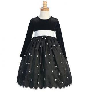 Girls Black White Dot Long Sleeve Christmas Flower Girl