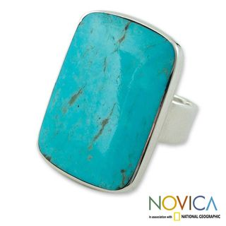 Sterling Silver Caribbean Mosaic Turquoise Ring (Mexico)