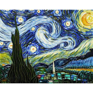 Vincent Van Gogh, Starry Night Hand painted Trivet/Wall Accent Tile