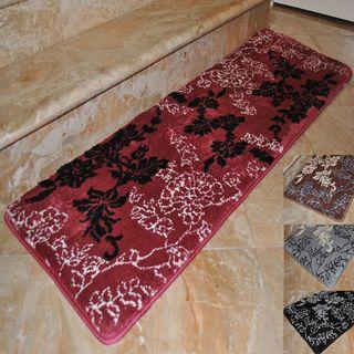 Fashion Street Floral Memory Foam Extra Long Bath Rug