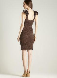 Romeo & Juliet Couture Fitted Shoulder Applique Dress