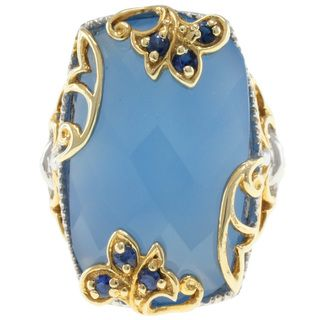 Michael Valitutti Two tone Chalcedony and Sapphire Ring