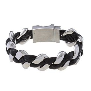 La Preciosa Stainless Steel Thick Braided Leather Bracelet