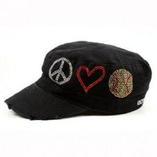 Peace Love Softball Cadet Cap (Black) Clothing