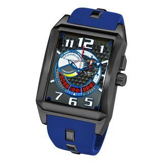 Stuhrling Original Mens Mad Man Complex Blue Rubber Strap Watch