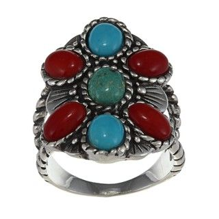 Southwest Moon Sterling Silver Coral and Turquoise Roped Flower Ring