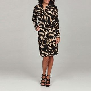 Calvin Klein Womens Black Animal Print Henley Dress