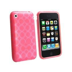 Eforcity Clear Hot Pink Circle TPU Rubber Case for Apple iPhone 3GS