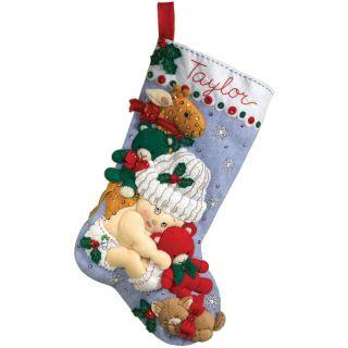 Babys First Christmas Stocking Felt Applique Kit 18 Long
