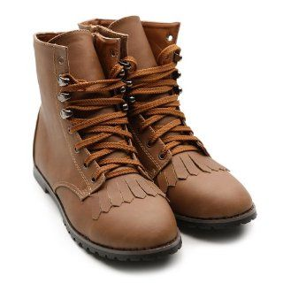 Ollio Womens Military Army Lace Ups Combat Brown Flat Boots Shoes