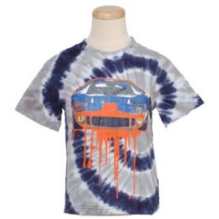 Flapdoodles Navy Spiral Tie Dye Race Car Boys Top 3T