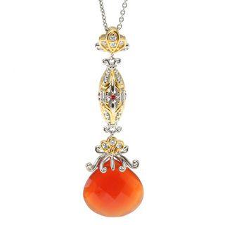 Michael Valitutti Orange Chalcedony and Sapphires Pendant Necklace